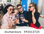 young hipster company of... | Shutterstock . vector #593313725