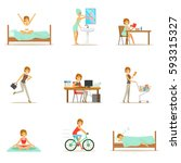 modern woman daily routine from ... | Shutterstock .eps vector #593315327