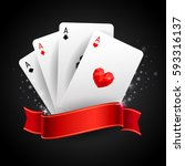 set of four ace playing cards... | Shutterstock .eps vector #593316137