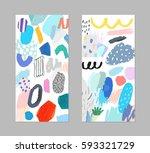 set of artistic creative... | Shutterstock .eps vector #593321729