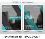 green vector annual report...   Shutterstock .eps vector #593329214
