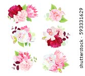 mini spring mixed bouquets of... | Shutterstock .eps vector #593331629