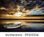 Gorgeous Peaceful Sunset over lake - stock photo