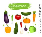 healthy vegetables   carrot ... | Shutterstock .eps vector #593335175