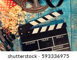 film camera chalkboard   movie... | Shutterstock . vector #593336975