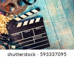 film camera chalkboard   movie... | Shutterstock . vector #593337095