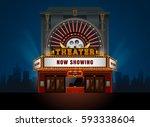 theater cinema building vector. ... | Shutterstock .eps vector #593338604