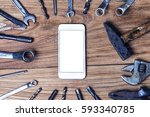 variety of repair tools on... | Shutterstock . vector #593340785