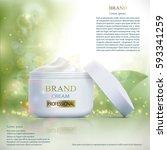 skin care perfum. mock up... | Shutterstock .eps vector #593341259
