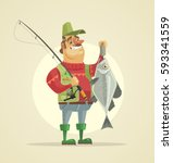 happy fisherman character hold... | Shutterstock .eps vector #593341559