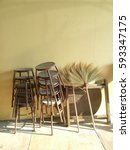 broom and chair | Shutterstock . vector #593347175