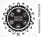 social network vector logo... | Shutterstock .eps vector #593360339