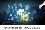 man touching technology smart... | Shutterstock . vector #593362199