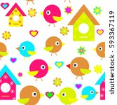 children's cartoon bird... | Shutterstock . vector #593367119