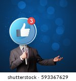 smart businessman holding round ... | Shutterstock . vector #593367629