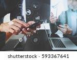 co working team meeting concept ...   Shutterstock . vector #593367641