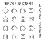 set of puzzle in modern thin... | Shutterstock .eps vector #593369249