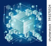 fintech investment financial... | Shutterstock .eps vector #593370524