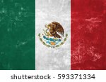 mexico   mexican flag on old... | Shutterstock . vector #593371334