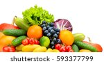 collection fresh fruits and... | Shutterstock . vector #593377799