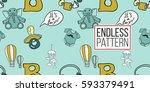 funny new born baby boy rattle... | Shutterstock .eps vector #593379491