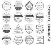 set of vintage car symbols and ... | Shutterstock . vector #593381624