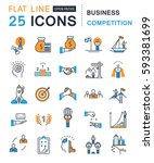 set  line icons with open path... | Shutterstock . vector #593381699