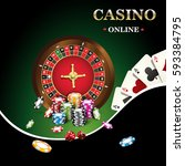 casino banner includes roulette ... | Shutterstock .eps vector #593384795