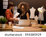 two young entrepreneur women ... | Shutterstock . vector #593385929
