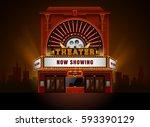 theater cinema building vector... | Shutterstock .eps vector #593390129