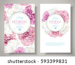 vector botanical banners with... | Shutterstock .eps vector #593399831