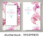 vector botanical banners with... | Shutterstock .eps vector #593399855
