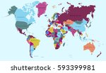 world map countries vector on... | Shutterstock .eps vector #593399981