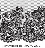 seamless black vector lace... | Shutterstock .eps vector #593401379