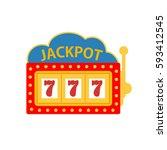 jackpot on a slot machine  | Shutterstock . vector #593412545