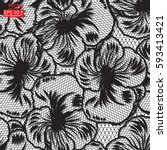 black white pansy  lace design... | Shutterstock .eps vector #593413421