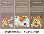 set of persons are eating  top... | Shutterstock .eps vector #593413985