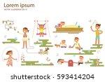 happy childhood concept. set of ... | Shutterstock .eps vector #593414204