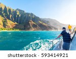 boat tour with tourists along... | Shutterstock . vector #593414921