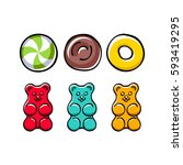 colorful hard candies and gummy ... | Shutterstock .eps vector #593419295