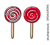 colorful sweet lollipops icons... | Shutterstock .eps vector #593419595