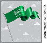 saudi arabian flag wavy... | Shutterstock . vector #593421815