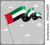 united arab emirates flag wavy... | Shutterstock . vector #593421899