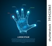 hologram hands of lines and... | Shutterstock .eps vector #593422865