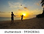 two guys play in volleyball on... | Shutterstock . vector #593428361