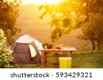 camping family table on... | Shutterstock . vector #593429321