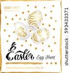 poster   easter egg hunt.... | Shutterstock .eps vector #593433371
