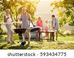 happy generation family having... | Shutterstock . vector #593434775