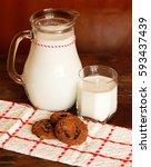 milk and cookies. | Shutterstock . vector #593437439