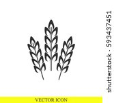 wheat spike vector icon | Shutterstock .eps vector #593437451